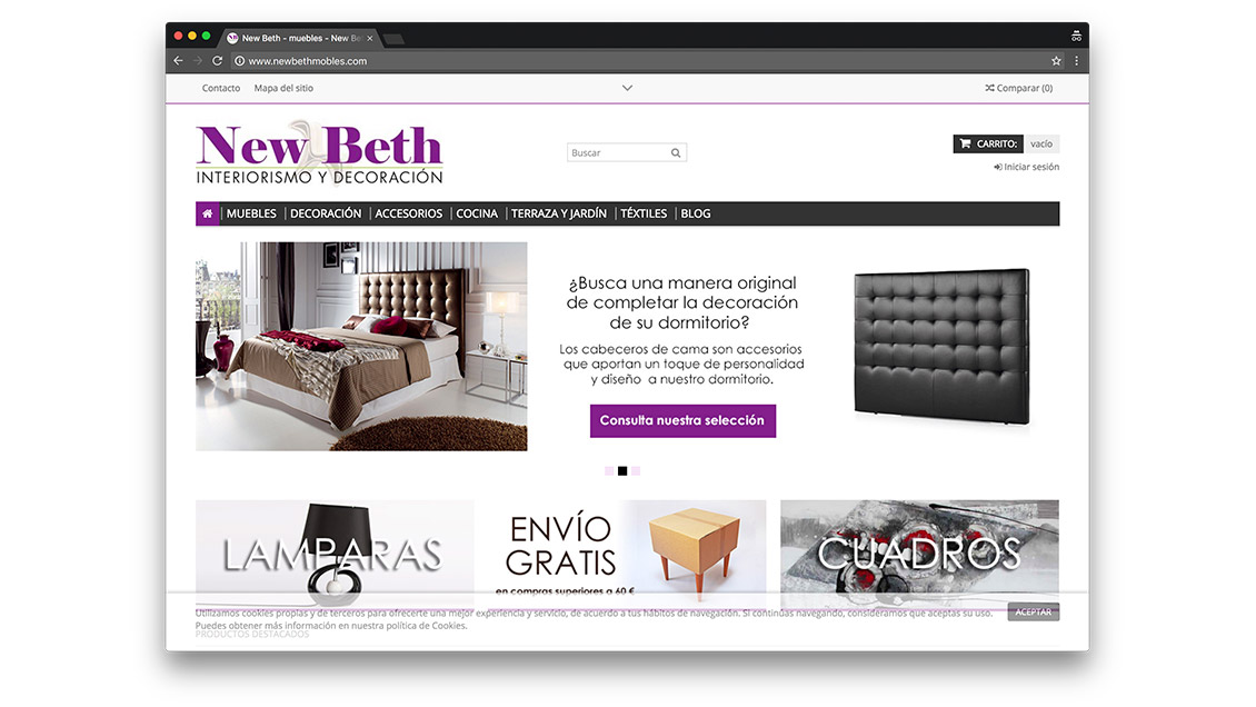 Dise o tienda online de muebles en barcelona for Muebles diseno outlet online
