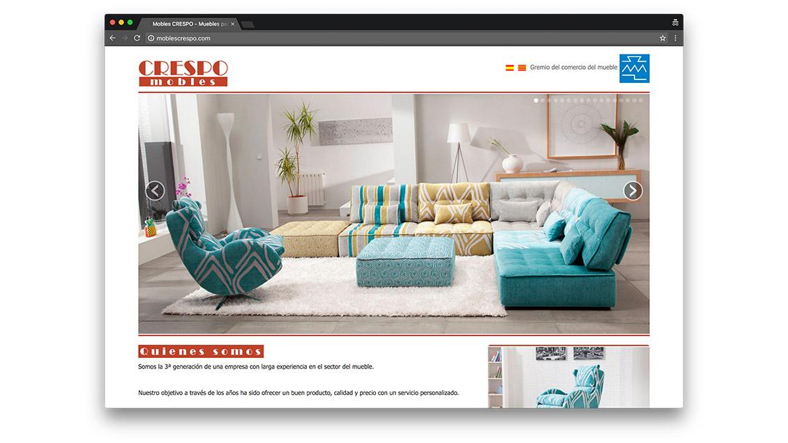 Dise o web tienda mobiliario crespo barcelona effortsl for Mobiliario diseno online